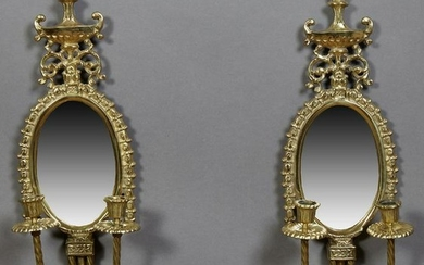 Pair of Brass Louis XVI Style Two Light Mirrored