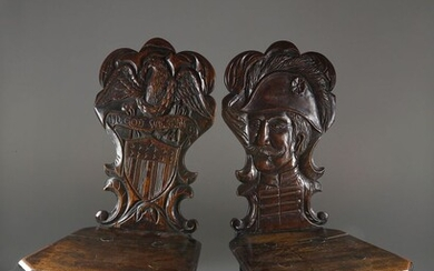 Pair of Continental Carved Oak Tavern Chairs Made for the American Market, circa 1880
