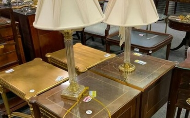 Pair of Empire style end tables wih 2 brass lamps