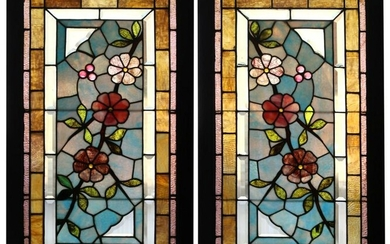 Pair of Floral Stained Glass Windows