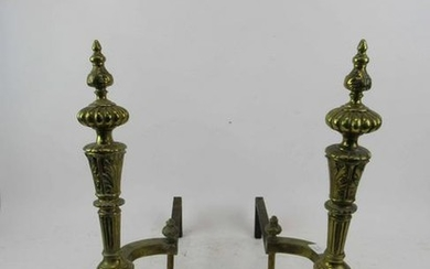 Pair of French Style Brass Andirons