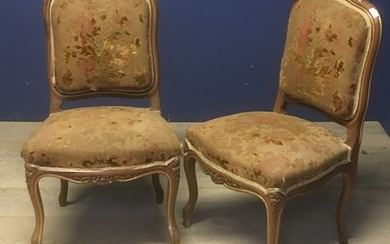 Pair of French chestnut side chairs with upholstered seats &...