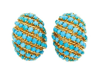 Pair of Gold and Turquoise Bombé Earclips, France