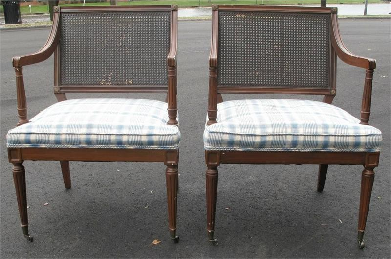 Pair of Regency style cane painted lounge arm chairs mid 20thc FR3SH