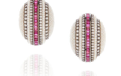 Pair of Seed Pearl, Ruby and Diamond Ear Clips