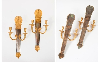 Pair of ormolu and silver plated bronze sconces...