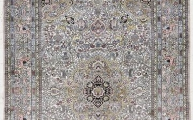 Persian Silk Oriental Rug with Animals 5'11''x8'11'. An