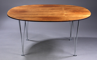 Piet Hein and Bruno Mathsson. Super-round dining table in Brazilian rosewood