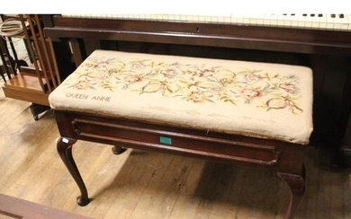 Queen Anne Style Duet Piano Stool With Tapestry Upholstered ...