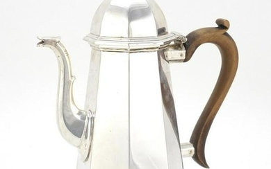 Queen Anne style silver coffee pot with octagonal body
