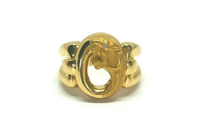 ROAR Vintage Panther Diamond Yellow Gold Ring