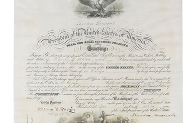 """ROOSEVELT, Theodore (1858-1919). Engraved document signed as President (""""Theodore Roosevelt""""), countersigned by William H. Moody, Secretary of the Navy, 7 May 1902."""
