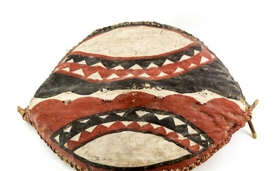 Rare African Hand Painted Tribal Warrior Shield