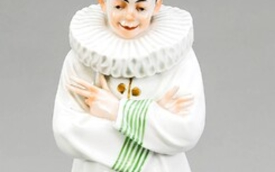 Rare Pierrot, Ens, Volkstedt, Thuringia, KVE mark, around 1900. Model no. 4146, designed and signed by Anton Büschelberger. With crossed arms and legs, casual, smiling harlequin. polychrome and gold painted, H. 34 cm