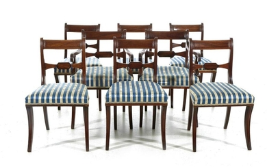 Regency carved mahogany dining chairs (8pcs)