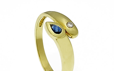 Sapphire brilliant ring GG 585/000 with a fac....