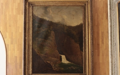 Scuola napoletana del XIX secolo Landscape with waterfall and figures