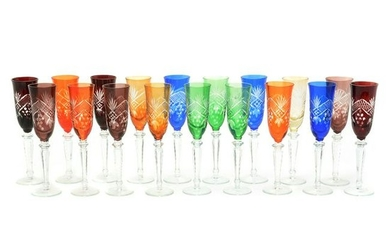 Set of Eighteen Colored and Cut Bohemian Style Goblets.