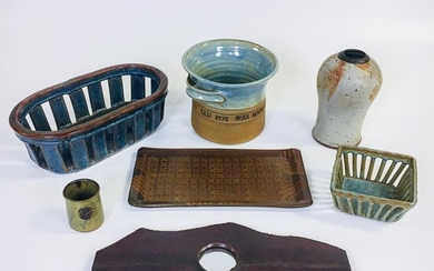 Seven Pieces of Michael Cohen Pottery, two baskets, a pot, tray, vase, cup, and mirror, ht. to 8 1/2 in.