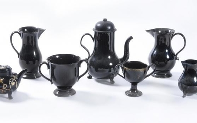 Seven items of Jackfield-type pottery