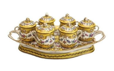Sevres Custard Pot Service Set Stand Floral Garlands