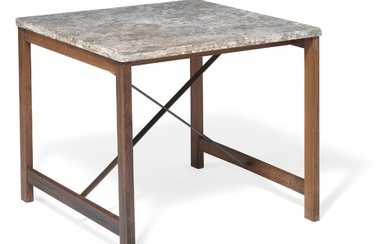 Steffen Syrach-Larsen: Coffee table with square Porsgrunn marble top. Brazilian rosewood frame, with cross-stretchers of brass. Made by Gustav Bertelsen.