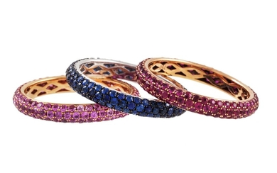 THREE FULL BANDED ETERNITY RINGS, , by Gioielli, set with ru...