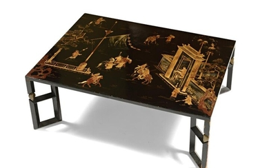 Rectangular coffee table made of a late 19th century lacquer...