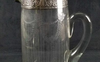 Tall Glass Decanter with Floral Etchings and Sterling