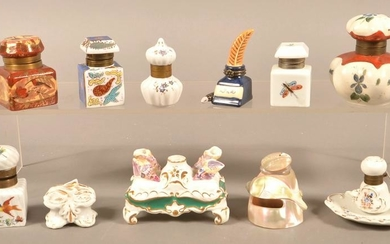 Ten Antique Hand-Painted Porcelain Inkwells.