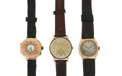 Three gentleman's gold wristwatches, all manual movements, each...