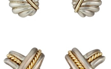 Tiffany & Co., A Set of Gold and Silver Earrings