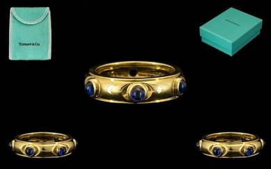 Tiffany & Co 18ct Gold Attractive Sapphire Set Dress Ring. M...