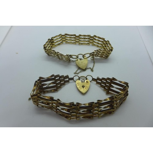 Two 9ct yellow gold gate link bracelets, approx 20 grams