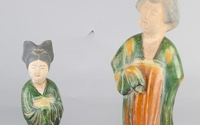 Two Chinese terracotta glazed figures. Chinese women.
