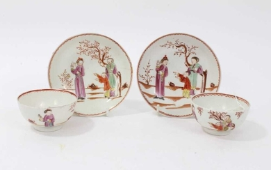 Two pairs of 18th century Lowestoft porcelain tea bowls and saucers, decorated in polychrome enamels with chinoiserie figural scenes (4)