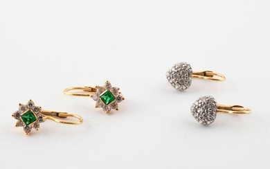Two pairs of small yellow gold (750) sleepers adorned with square green stones and small round faceted white stones, set with grain or claw.