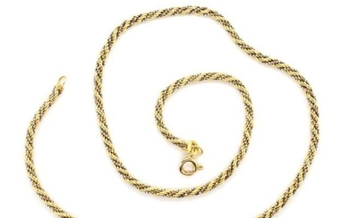 Two tone 14ct yellow gold rope twist necklace marked 585. Ap...