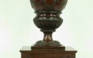 Urn Form Mahogany Knife Box on Pedestal