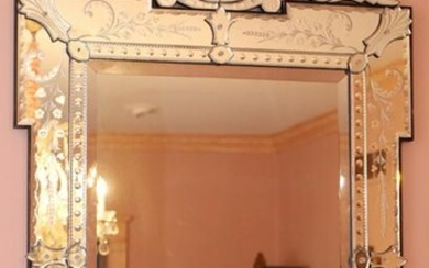 """VENETIAN STYLE ETCHED GLASS MIRROR, H 58"""", W 36"""""""