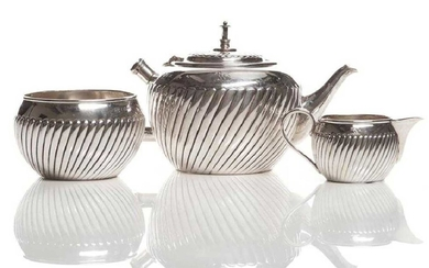 VICTORIAN ENGLISH SILVER BACHELOR'S TEA SET, MARKED