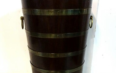 "VINTAGE BRASS BOUND BUCKET 17""H 11"" DIA."