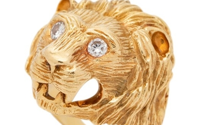 Van Cleef & Arpels, Yellow Gold and Diamond Lion Ring