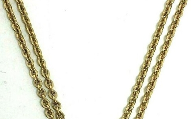 Victorian 10K Yellow Gold Pearl Watch Chain 25.5""