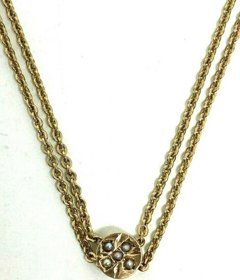 """Victorian 10K Yellow Gold Pearl Watch Chain 25.5"""""""