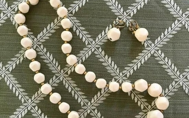 Vintage Mid-Century Costume Bead Necklace & Earrings