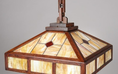 W.B. Brown Oak & Stained Glass Hanging Chandelier c1910
