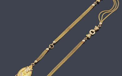 Watch chain in 18K yellow gold with pearl beads and