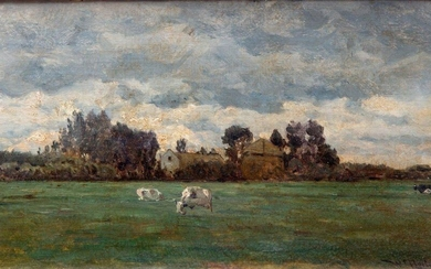 Willem Roelofs (1822-1897), Meadow with cows near a...