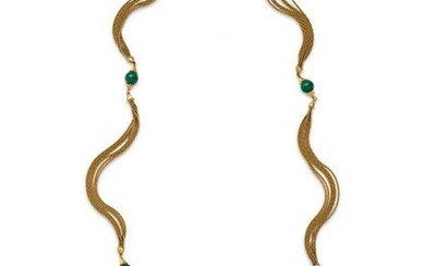 YELLOW GOLD AND MALACHITE NECKLACE
